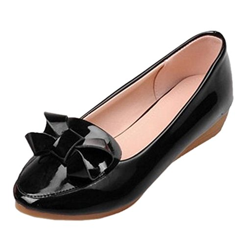 COOLCEPT Women Fashion Slip on Bowtie Wedge Heel Court Shoes Black i07zDky4l