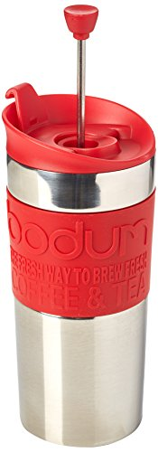 Bodum UK 0.35 L/12 oz Small Travel Press Vacuum Coffee Maker - Red Red (Vacuum Bodum Coffee)