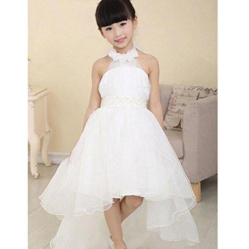 Flower Girl Dress,BeautyVan Fashion Beautiful Flower Girl Princess Dress Party Pageant Wedding Bridesmaid Tutu Dresses (4-5Y, white)