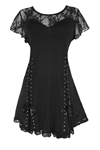 Dare to Wear Victorian Gothic Boho Women's Plus Size Roxanne Corset Top Black 3X]()