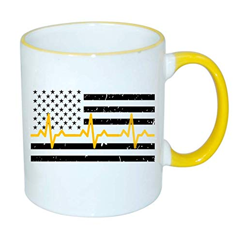 - Dispatcher Thin Yellow Line Heartbeat Flag, 911, 2-Sided 11 oz. Coffee Mug. Police Officer Support