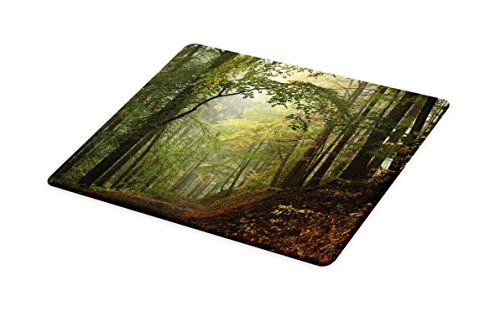 (Lunarable Forest Cutting Board, Misty Autumn Forest with Shaded Trees Foggy Dreamy Woodland Scene, Decorative Tempered Glass Cutting and Serving Board, Large Size, Green Brown)