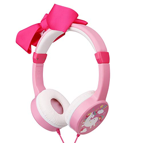 Girls Unicorn Headphones,Removable Bowknot Earphones with 85dB Volume Limited and 3.5mm Jack for iPad Cellphones Computer MP3/4 Kindle,Children Headset for School,Birthday Gifts (Bowknot)