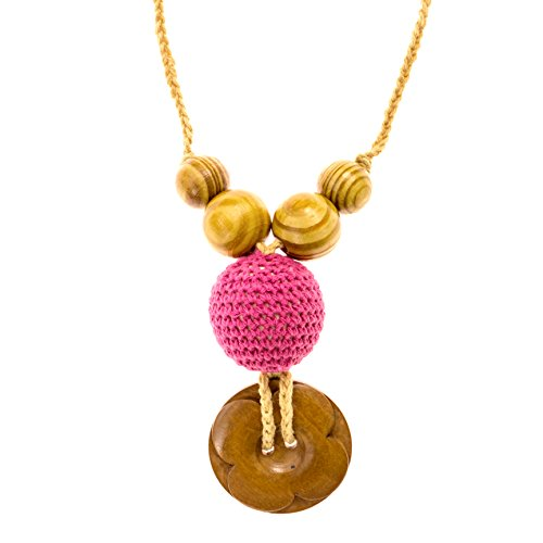 Lil Teethers HandMade Nursing & Teething Necklace made of Natural, Safe, Untreated Wood and Crochet Knit - Offers Teething Relief for Baby and a Stylish Teething Necklace for Mom to Wear. Happy