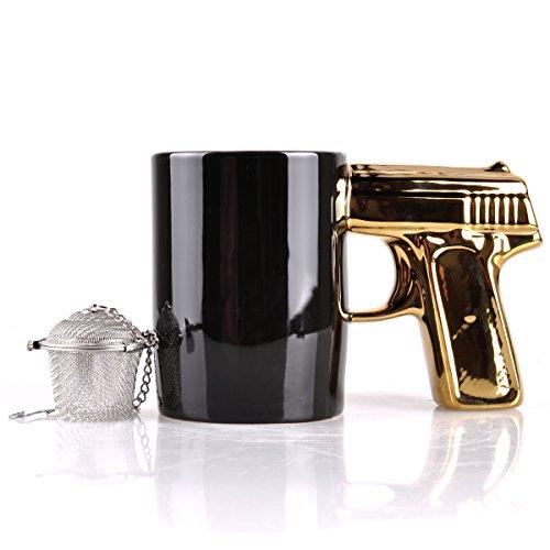 UCEC Gun Mug - Ceramic - Used for Coffee, Tea - With Gift (Stainless Steel Tea Strainer)