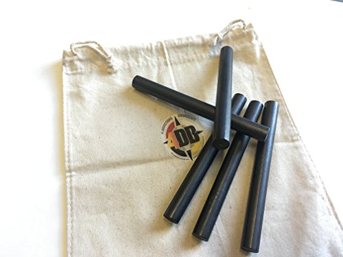 4DB 1/2''x5'' Survival Flint Ferro Ferrocerium Rod Fire Steel Bushcraft Camping Mischmetal Firestarting Rod (Lot of 5) Blanks not Drilled DIY Fire Kit Projects by 4 Directions Bushcraft