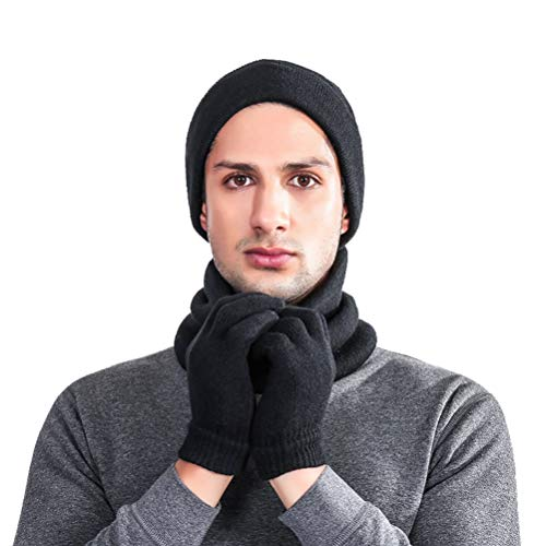 LLmoway Men Winter Warm Beanie Hat Scarf Gloves Set Slouchy Skull Ski Cap Touch Screen Gloves Black ()