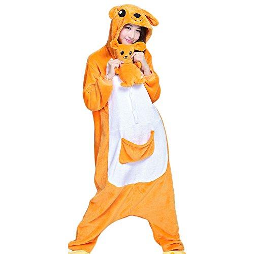 Itopfox Adult Animal Pajamas - Kangaroo One Piece Plush Cosplay Onsies Sleepwear Size M -