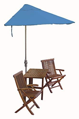 Blue Star Group Terrace Mates Villa Deluxe Table Set w/ 7.5'-Wide OFF-THE-WALL BRELLA - Pacific Blue Sunbrella Canopy