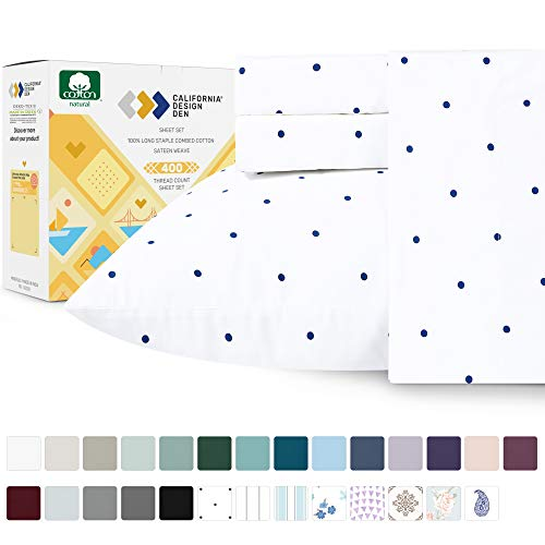 California Design Den 400 Thread Count 100% Cotton Sheets in Navy Dot Printed Queen Size Set, 4-Piece Long-Staple Combed Cotton Sheets for Bed, Breathable, Sateen Weave Fits Mattress 16