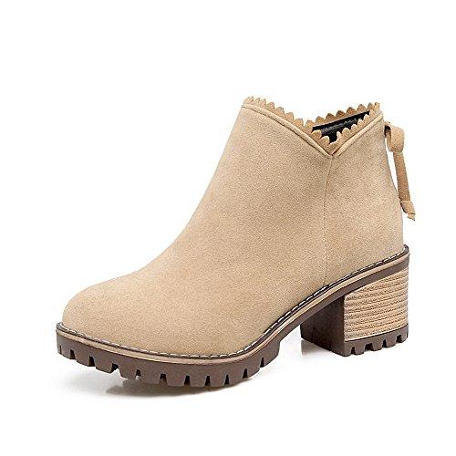 AgooLar Women's Blend Materials Round-Toe Kitten-Heels Zipper Solid Boots Apricot jI29dixgRc