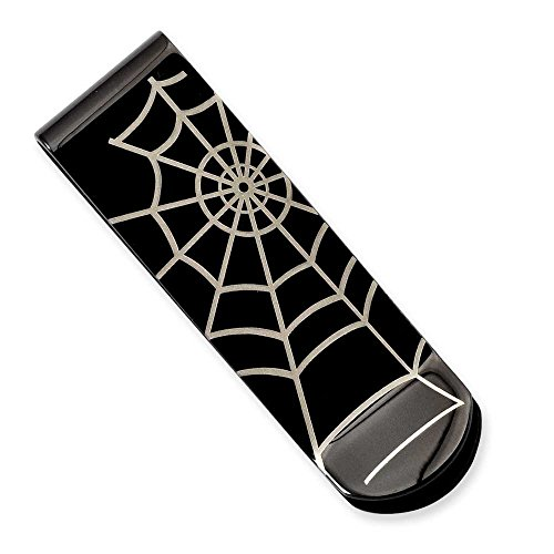 Chisel Stainless Steel Black-plated Spider Web Money Clip SRM145