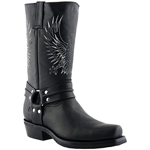 Grinders Mens 283 Bald Eagle Leather Boots Black
