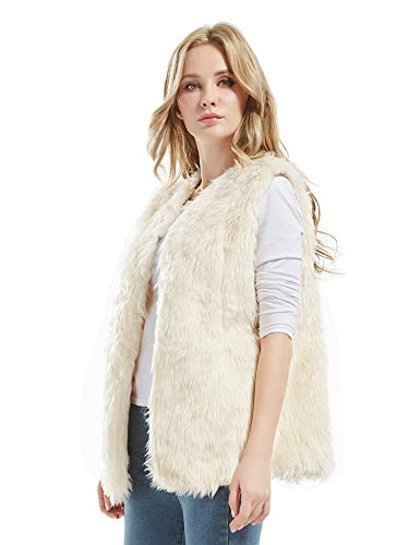 Bellivera Women's Faux Fur Vest Warm Sleeveless Outwear for Spring and Winter