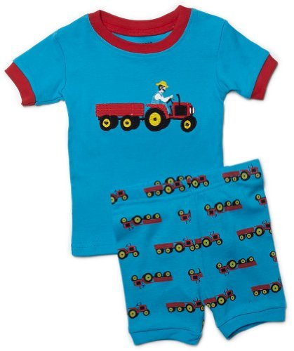 """Leveret Shorts """"Pickup Truck"""" Little Boy 2 Piece Pajama 100% Cotton (Size 2-7 Years) (7 Years, Blue)"""