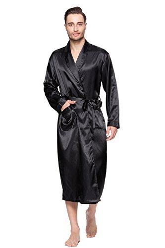 Shining Life Mens Shawl Classic Satin Kimono Robe Sleepwear (XL, BLACK)