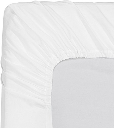 Premium Cotton Fitted Sheet Queen White 100 Combed