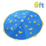 Shinehalo 6 Feet (1.8M) Star & Moon Parachute Toys with 8 Handles for Kids Indoor Outdoor Games Toys, Kids Cooperation Group Play, Blue