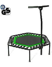 SportPlus Fitness-Trampolin, Klappfunktion optional, Ø 126cm, leise Gummiseilfederung, 5-fach höhenverstellbarer Haltegriff, inkl. Randabdeckung, Nutzergewicht bis 130kg, Trampolin für Jumping Fitness