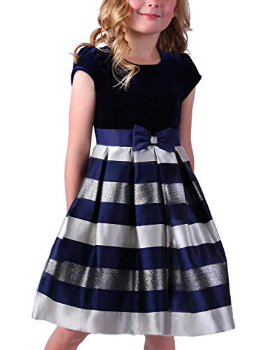 Jona Michelle Girl's Special Occasion Dress (Navy Stripes, 7)