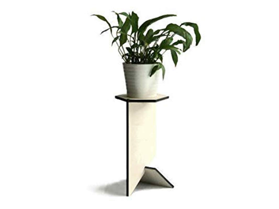 Hexagonal wooden pot plant stand alone for indoors in many colors as white Tall modern living room accent table Bathroom flowerpot stands Laser cut wood pedestal side tables planters holder by LOHN | Little Objects for Huge Needs