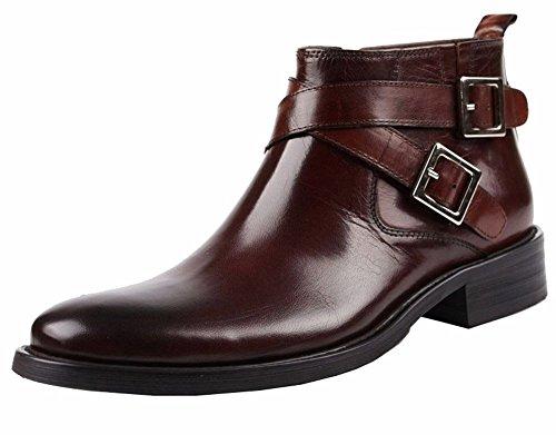 Wuf Herren Stiefel Boots Kurzschaft Stiefel Lederstiefel Schuhe Braun