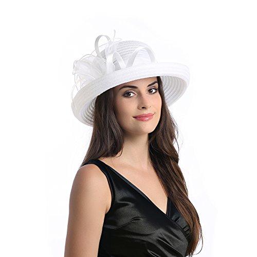 Dantiya Women's Organza Wide Brim Bowler Hat Kentucky Derby Church Dress Sun Hat (White) (Dress Hats For Church)