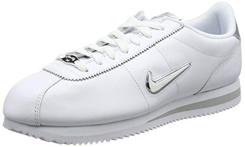 bianco bianco Jewel metallizzato Nike Cortez Uomo Basic argento Sneakers fFxqUXwx