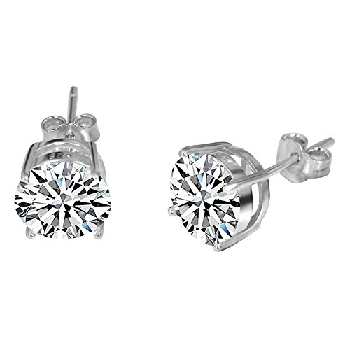 - JunXin Three Color 925 Sterling Silver Round Cut Opal Stud Earring 7.5MM (White Cz)