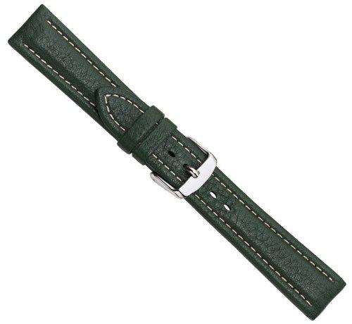 Bio-Leder Uhrenarmband Kalbsleder XL Dunkelgrün 22360S, Stegbreite:18mm