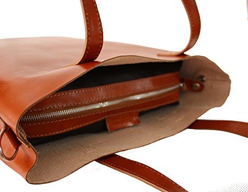 1d3956de228e8 ... Sa-Lucca echt Leder Shopper Handtasche Damentasche Tasche Ledertasche  cognac MADE IN ITALY ...
