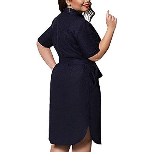 Zhxinashu Robe À Manches Courtes T-shirt Denim Oversize Pour Les Femmes (l-6xl) Bleu Foncé