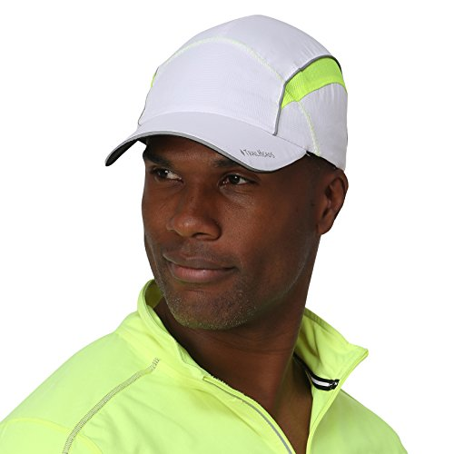 TrailHeads Reflective Running Cap with Sun Protection | Hi Vis Hat | The Daybreak - White/hi-vis