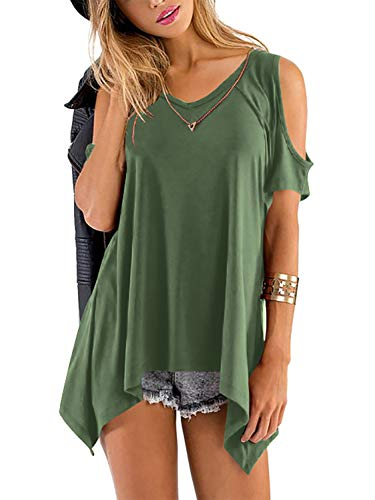 Beluring Women's Cold Shoulder Tops Casual V Neck Loose Fit T Shirts (Army Green, M)