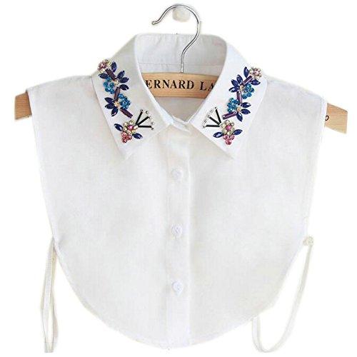 Joyci Korean Crystal Shirt Fake Collar Detachable Chiffon(white)