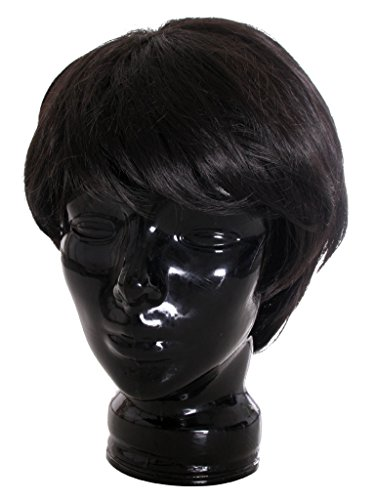 Farrah Fawcett Costume (EPGW Short Straight Male Hair Wig Cosplay Costume Party Wigs, Black)