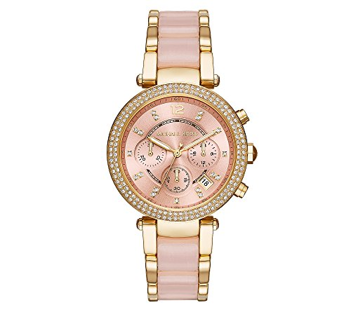 Michael Kors Womens Parker Blush Acetate and Goldtone Chronograph Watch