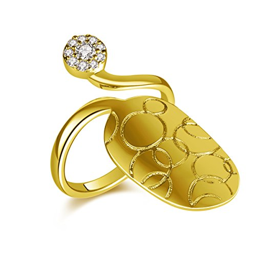 IcedJewels 0.20 cttw Round CZ 14K Yellow Gold Nail Finger Tips Ring, 7 (14k Gold Nail Yellow)