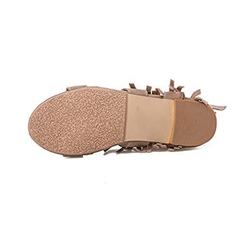 Flat Toe Strappy Open Roman Dress Studded Women's Strap T Tassels Slippers Comfort apricot Sandals Rivets Fringe Buckle JULY qnR1BAf