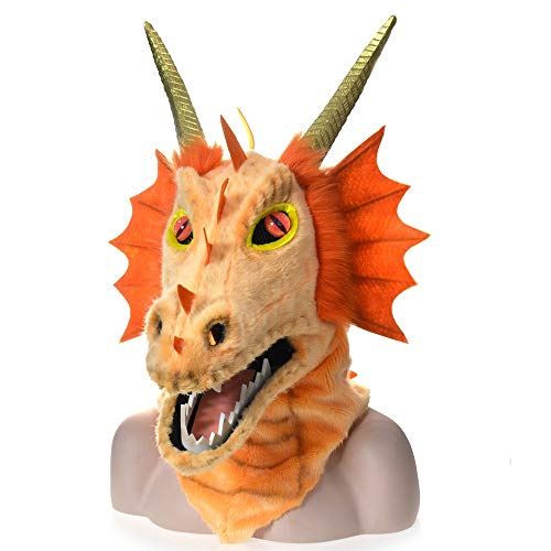 LUANAYUN-TOYS Realistic Cosplay Custom Animals Mask Furry Handmade Customized Halloween Moving Mouth Mask Orange Dragon Simulation Animal Peculiar Party Fun Mask Animal Head Mask]()
