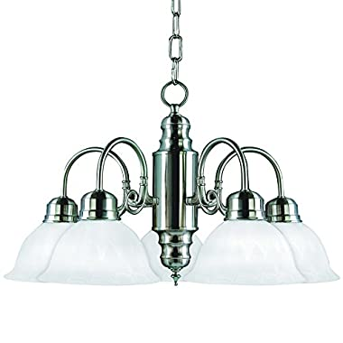 Yosemite Home Decor 1435-5SN Manzanita 5 Light Chandelier, Frosted White Marble Glass Shades, Satin Nickel Finished Frame