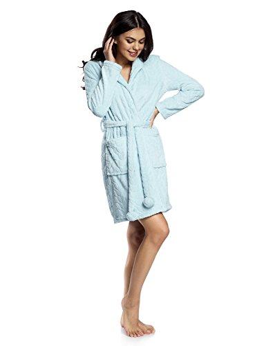 oodji Ultra Mujer Bata de Tejido Texturizado con Capucha y Bolsillos de Parche Turquesa (7000O)