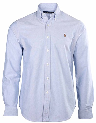 Ralph Lauren Men Custom Fit Oxford Long Sleeve Logo Shirt (XXL, Blue) at Amazon Men\u0026#39;s Clothing store: