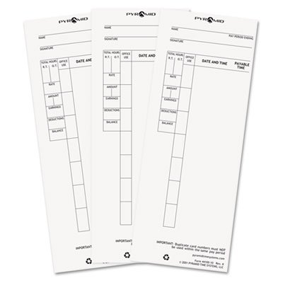 - Time Card for Model 4000 Payroll Recorder, 3-1/2 x 8-1/2, 100/Pack, Sold as 1 Package, 100 Each per Package