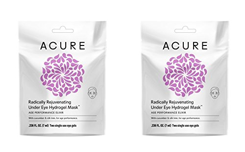Acure Organics Radically Rejuvenating Under Eye Hydrogel Mask (Pack of 2) With Cucumber and Silk Tree, For Age Performance, .236 fl. oz. (Silicone Hydrogel)