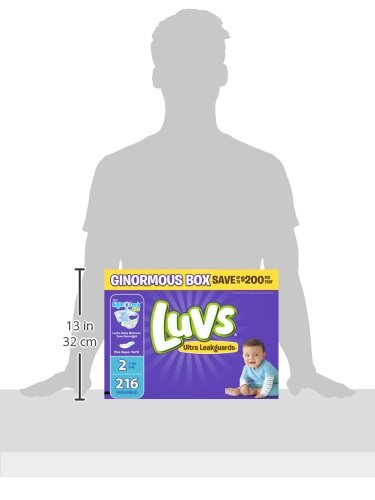 Large Product Image of Luvs Ultra Leakguards Disposable Diapers Size 2, 216 Count, ONE MONTH SUPPLY