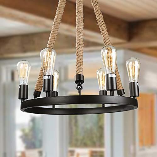 LNC Rustic Farmhouse Chandeliers 6-Light Hanging Ceiling Light Fixture
