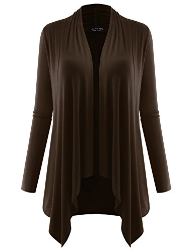 (A.F.Y All For You Women's Long Sleeve Flowy Open Cardigan Brown Small)