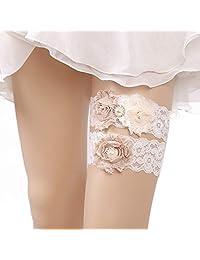 Kercisbeauty Handmade Wedding Bridal Garter Set with White Lace Flower Hen Night Bachelorette Party Bridal Shower Gift Idea