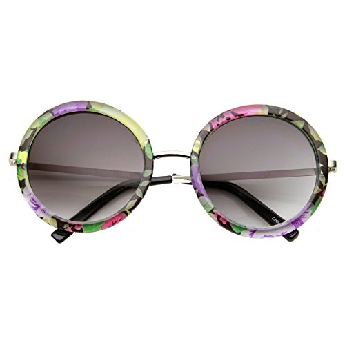 zeroUV - Womens Oversized Floral Flower Print Metal Temple Round Sunglasses (Silver-Yellow - Sunglasses Flower Round